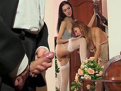 Judith&Alice nylons lesbo sex movie scene