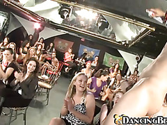 Voluptuous chicks suck the dick of stripper right at the scene