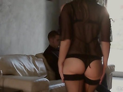 Dirty bitch with tasty butt is giving a head to this horny mister
