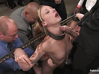 Hot blonde fucked and dominated in real slavery