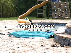 Big tits girls fucks lucky guy in pool
