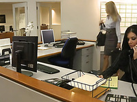 Hot blonde babe fucking in office