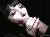 Hot brunette with sexy nails in the dark blowing a fat long boner deep