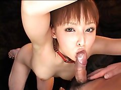 Japanese girl in bondage sucking and toyed