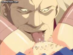 Tied up Hentai cutie gets her pussy licked and banged by old guy