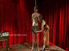 Three nasty dominatrix ladies torturing their male sex slave in screams