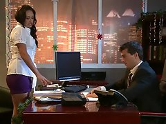 Brunette Claudia Valentine Gets Facialized In Stockings and High Heels