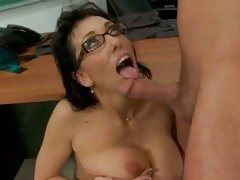 Teacher Alia Janine gets a drink of hot sticky student cum in mouth.
