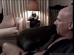 Goth chick in leather fucks guy