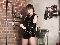 Jilly shows her nasty side with her latex kitchen scene