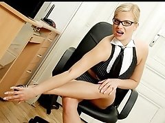 Sexy mother i'd like to fuck secretary copulates herself with a sleek vibrator