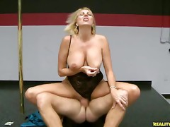 This hawt mother i'd like to fuck blond likes riding the ramrod hard.