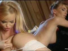 Beautiful Blonde Lesbians Gina and Silvia Saint Go Wild With Sex Toys