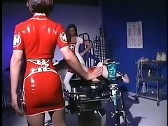 Latex Nurses Tie Down Girl For Punishing