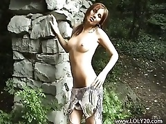 Beauty getting naked outdoors softcore