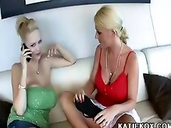Katie Kox and Sophie Dee work together on Shane Diesel's cock