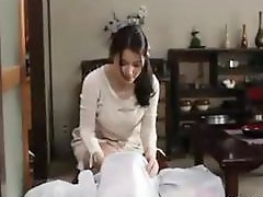 Horny Asian housewife with big knockers gets cum blasted in the chest